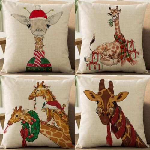 """18/"""" Noël Girafe Coton Lin Taie d/'oreiller Throw Cushion Cover Home Décor"""