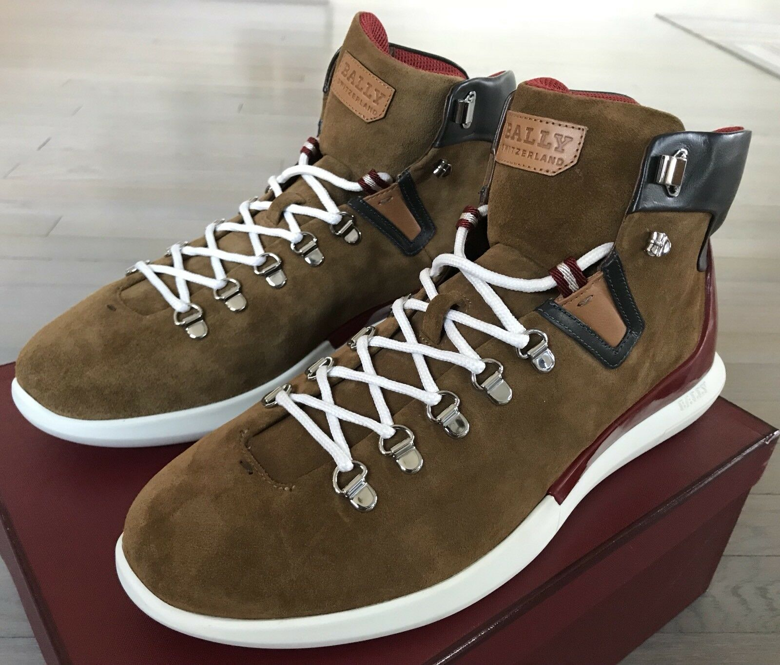 700  Bally Avyd Khaki Suede High Tops Sneakers size US 9 Made in