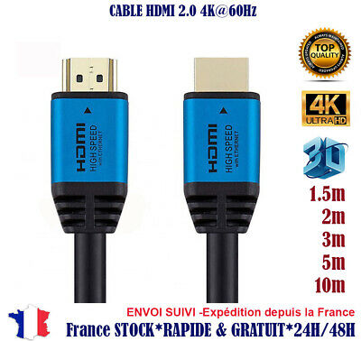 Cable hdmi 2.0 4K 60Hz professionnel blanc ultra HD 2160p 3D FullHD HDR 18GB//Sec