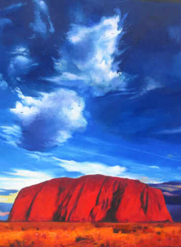Australia landscape art painting print ayers rock uluru 700mm x400mm