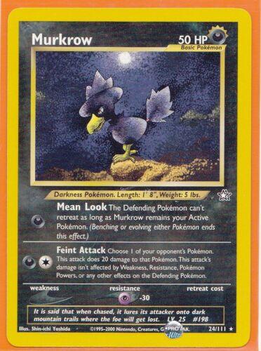 Unlimited Pokemon TCG  1 x  MURKROW  # 24//111 Rare card Neo Genesis Never Played