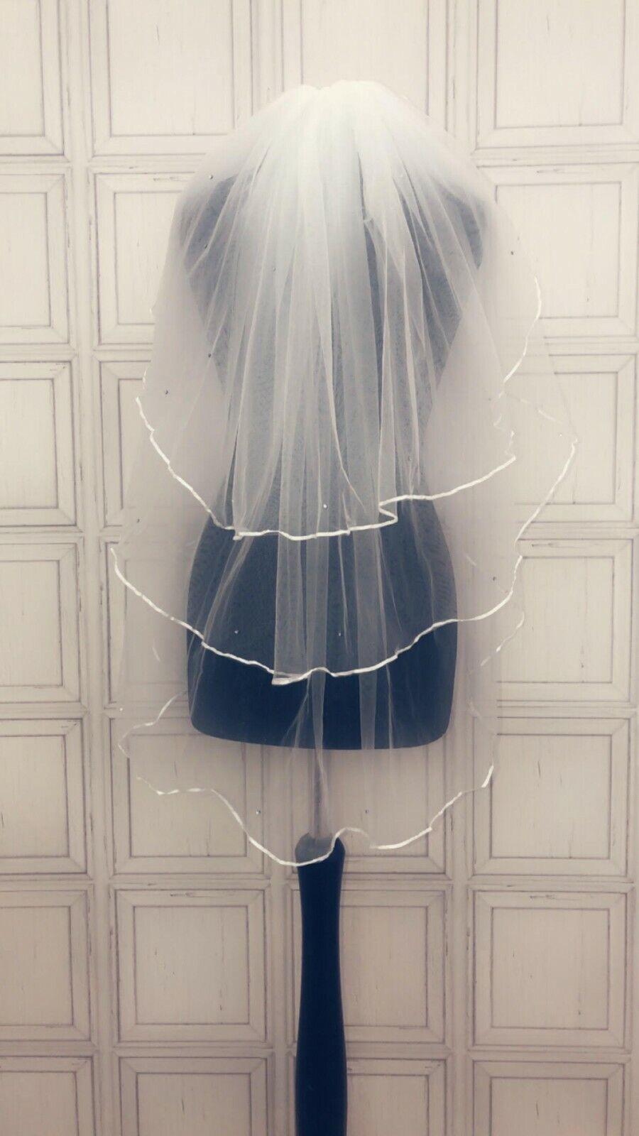 New 3 Tier Waist Length Crystal Veil Satin Edge Bridal Wedding Ivory White Uk