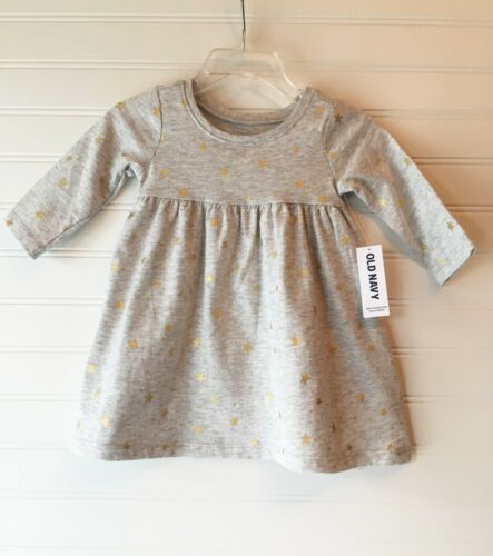 gray w gold metallic stars NWT Old Navy infant girls 3-6 mo long sleeved dress