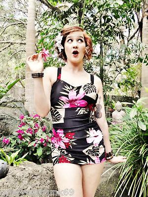 Vintage Style Tiki Hawaiian One Piece Swimwear Rockabilly Pinup Swimsuit Floral