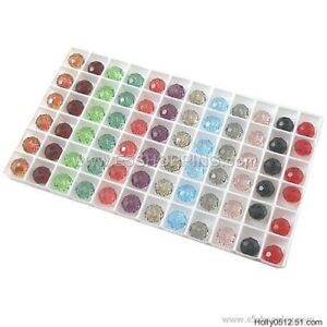 72Pcs-8mm-Rhombus-FACETED-RONDELLE-CRYSTAL-GLASS-BEADS-Jewellery-Making-Diy