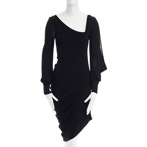 fb284bda9bbc Image is loading ALEXANDER-MCQUEEN-black-knit-asymmetric-neckline-kimono -sleeve-