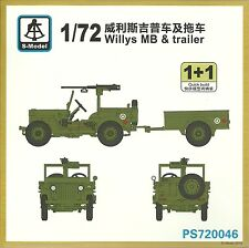 S-Model 1/72 Willys Jeep & Trailer (2 kits per box)