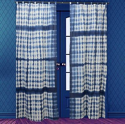 Tie Dye Shibori Curtain Indigo Door Window Room Decor