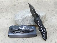 Black White Batman Dark Knight Spring Assisted Pocket Knife Fast Easy Opening
