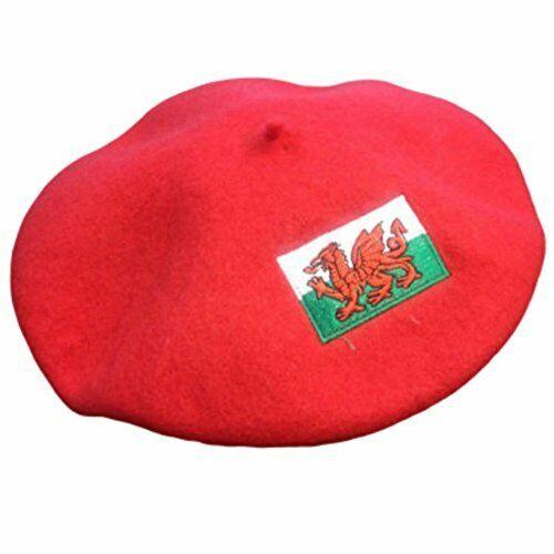 Gallois Supporteurs Nouveauté Chapeau-Rouge Feutre Béret Cap-Pays De Galles Drapeau Dragon Motif