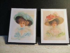 2 Poupées Miniature Dames Victoriennes Photos Cz10-afficher Le Titre D'origine Belle Et Charmante