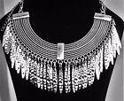 Elegant Silver Dangle Choker Collar Spiked Tassel Statement Necklace Goth Egypt