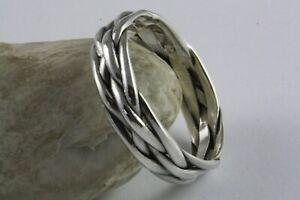 Bandring Keltic Kelten Geflochten Biker Ring 925 Silber Silberring / 567