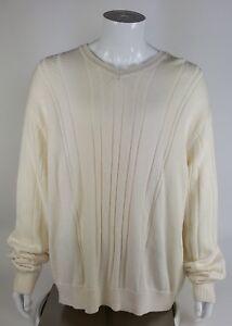 Saddlebred Mens Size Xxl Ivory White Cable Knit Sweater Nwt V Neck
