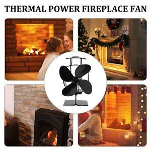 Black Eco Friendly 4 Blade Stove Fan Heat Powered Log Wood Burner Top Mini Fan