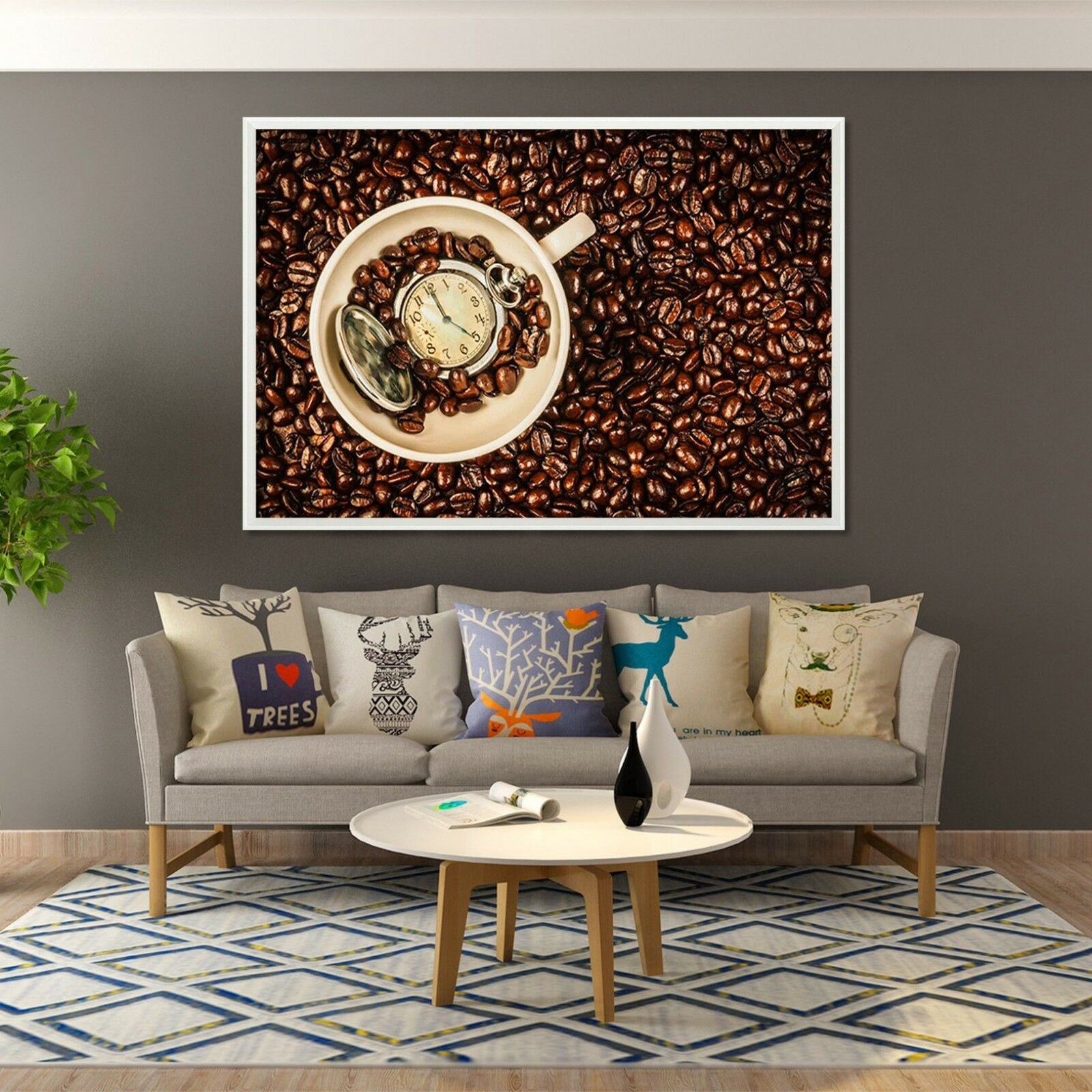 3D Cup Coffee Beans 1 Framed Poster Home Decor Print Painting Art AJ WALLPAPER