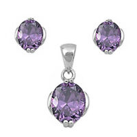 Style Amethyst .925 Sterling Silver Earring & Pendant Gift Set on sale