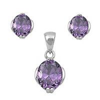 Style Amethyst .925 Sterling Silver Earring & Pendant Gift Set on sale