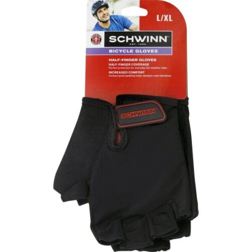 Schwinn Half-Finger Bicycle Gloves Black SW76134-6 Men/'s L//XL New with tags NWT!