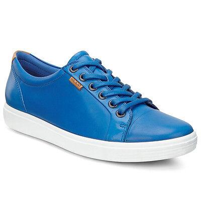 Ecco Soft 7 Ladies Schuhe Damen Leder Halbschuhe Sneaker blue 430003-01490