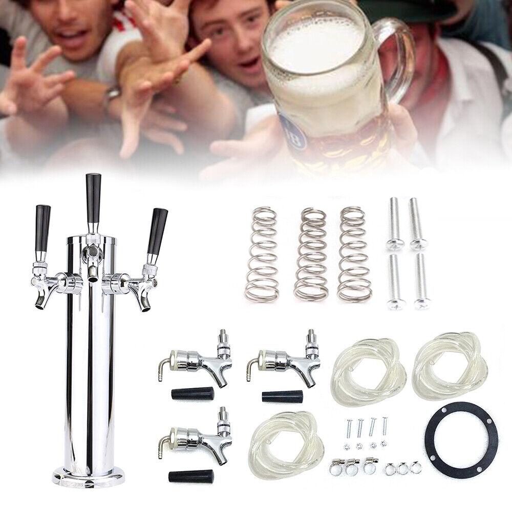 3 Taps Stainless Steel Draft Beer Tower Triple faucet F/Kegerator Beer Dispenser 5