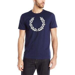 b2903cd75c Fred Perry Men s NEW Textured Laurel Wreath Crew Neck T-Shirt 100 ...