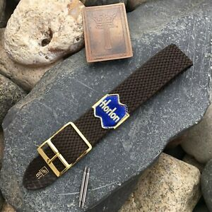 rare-Brown-Perlon-Mesh-amp-Brass-1-Piece-Military-Vintage-Watch-Band-nos-18mm-19mm