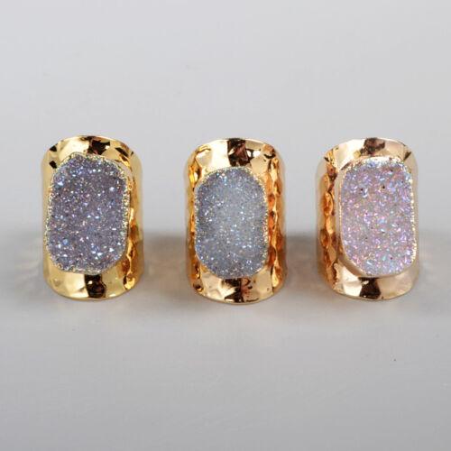 Free Wholesale 5Pcs Gold Plated Natural Agate Titanium AB Druzy Band Ring TG0904