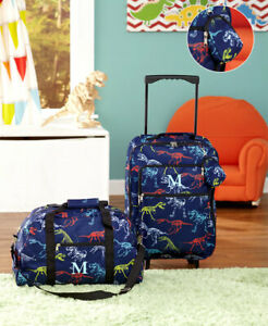 3-Pc-Dinosaur-Kids-LUGGAGE-MONOGRAM-LETTER-ROLLING-SUITCASE-DUFFEL-BAG-POUCH