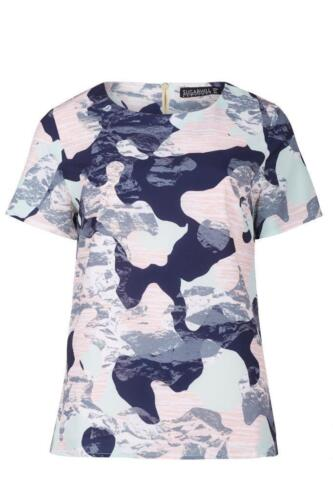 Sugarhill Boutique Harriet Camo Print Tee Top XS-XL 8-16 Mint Green Navy /& Peach