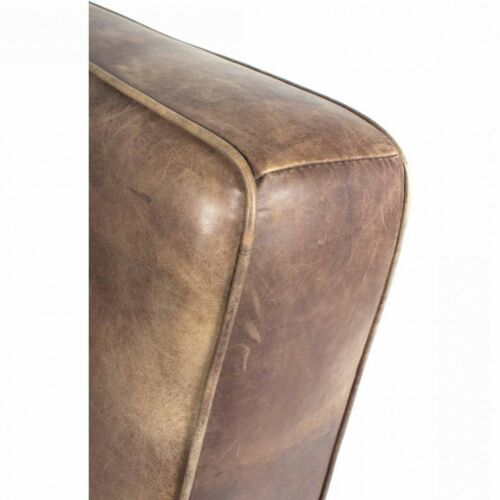 26' W Club Chair Iron Framework Distressed Top Grain Leather Wooden Armrests