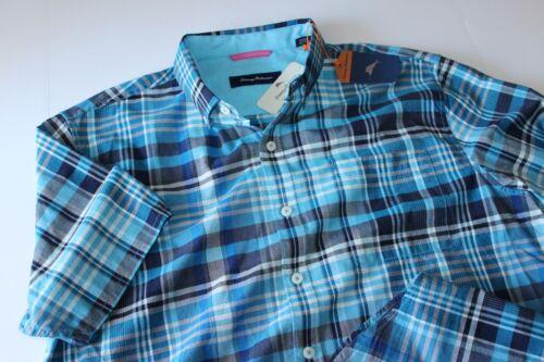 Tommy Bahama Camp Shirt Midas Madras Blue Danube T316543 New Extra Large XL