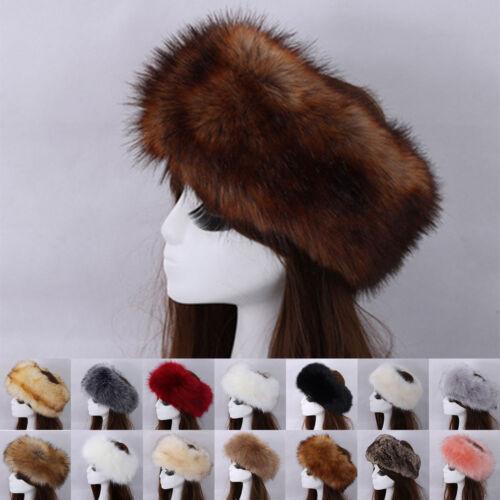 Ladies Faux Fur Headband Hat Fleece Lined Russian Winter Ski Ear Muff Warmer UK