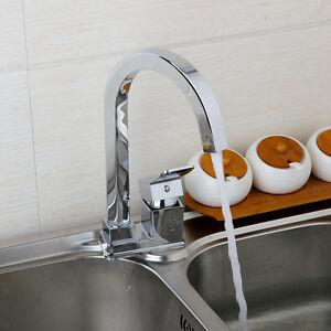 Gooseneck-Kitchen-Swivel-Spout-Sink-Faucet-Mixer-Tap-Single-Handle-Chrome-Finish