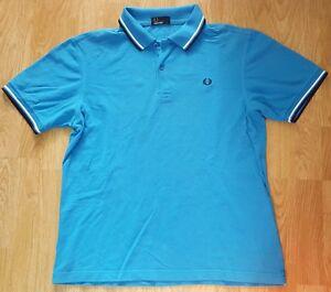 Fred-Perry-Polo-Camiseta-Camiseta-Top-Mangas-Cortas-Algodon-Pima-pique-azul-talla-L