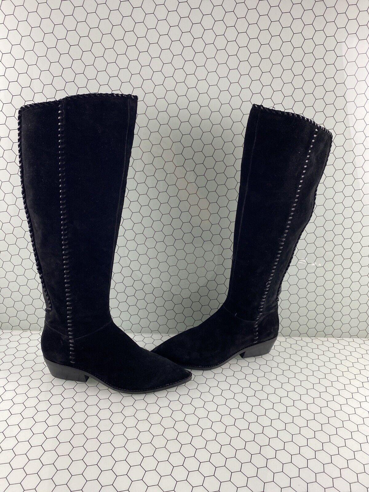 1. ÉTAT sage en Daim Noir Bout Pointu Fermeture Éclair Latérale Bottes Hautes Femme Taille 8.5 M