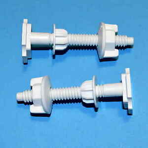 2 Toilet Seat Fixings Screws +  Nuts + Washers/Stabilisers Fit Toilet Hinges