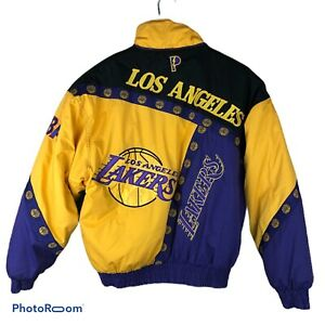 Vintage Lakers Jacket Pro Player Nba Embroidered F1 Ebay