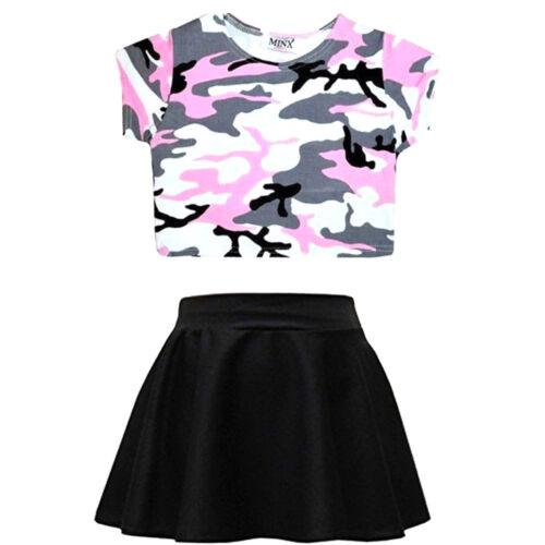 Girls Crop Top /& Skirt Set kids 2 Pc Leopard Bang Selfie Graffiti Summer Outfit