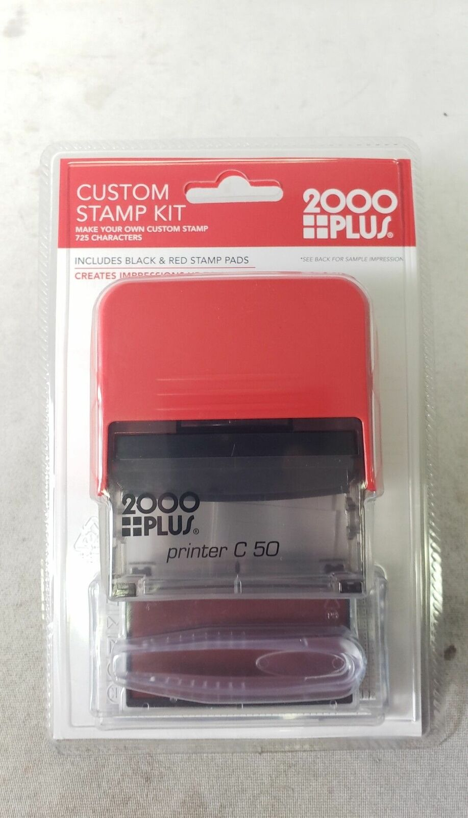 2 3//4 x 1 1//4 2000 Plus Heavy-Duty Create-Your-Own Stamp Kit Black//Red