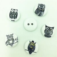 100pcs Owl pattern Round Wooden Buttons Sewing Scrapbooking Craft 18MM