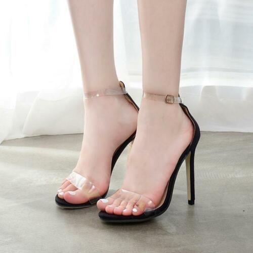 Women Casual Clear Peep Open Toe Ankle Strap Stilettos High Heel Pump Sandals JJ