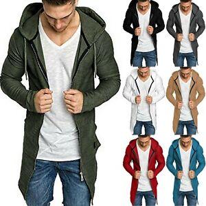 Mens-Zip-Up-Hoodie-Sweater-Jumper-Slim-Coat-Casual-Cardigan-Long-Jackets-Outwear