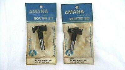 Amana Tool 203350 Carbide Tipped Hinge Boring Bit R//H 35mm Dia x 90mm Long x 10mm Shank