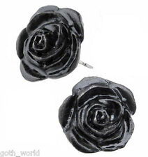 GENUINE Alchemy Gothic Earrings - Black Rose Studs | Ladies Fashion Jewellery