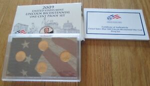 2009-Proof-Lincoln-Bicentennial-Proof-Penny-Set-U-S-Mint-Box-and-COA