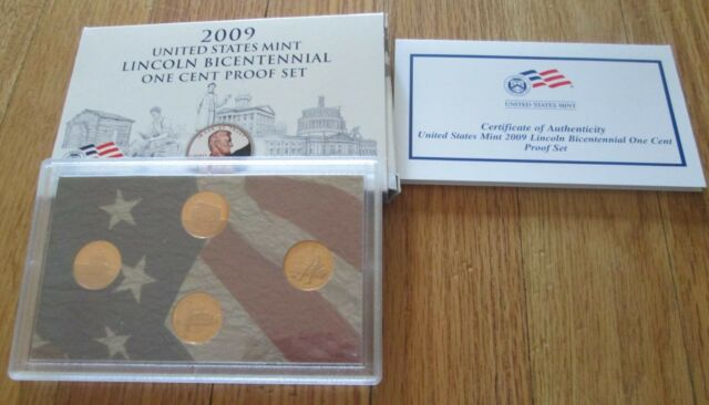 2009 Bicentennial Proof Penny Set Lincoln 4 Penny  U.S. Mint  Box and COA