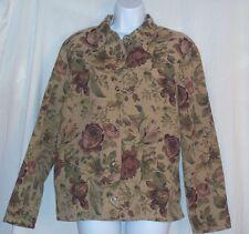 LEMON GRASS Jacket Women's Medium Button Front Long Sleeve Coat Floral
