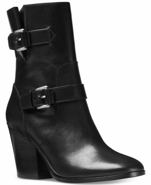 43e64e691d4 Size 9 Michael Kors Ashton Mid Calf Black Leather Heel Bootie Womens Shoes