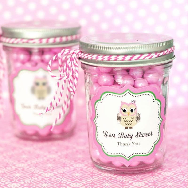 48 Personalized rose Owl Theme Mini Mason Jars Baby Shower Favors